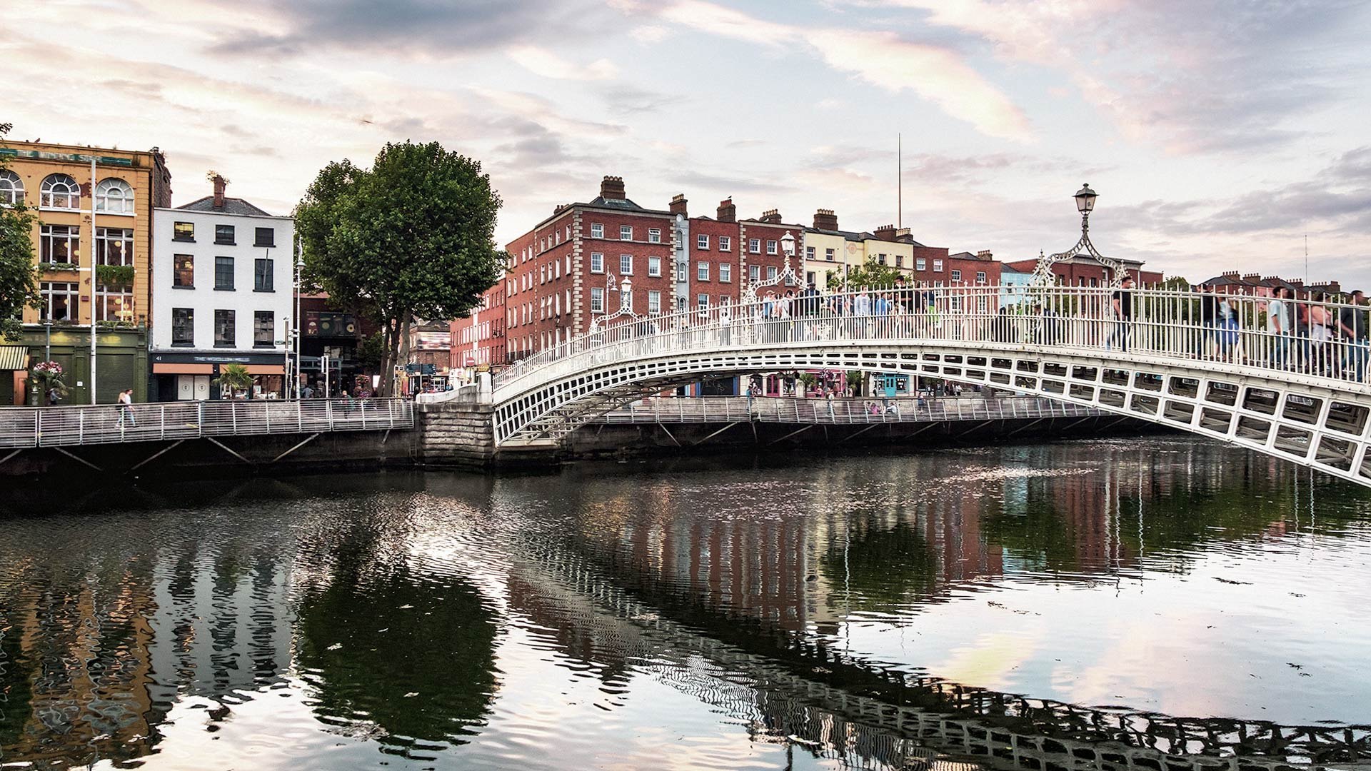 The Ha'penny Bridge is a pedestrian bridge over the River Liffey in Dublin